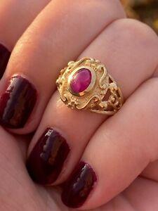 Vintage Estate 14k Yellow Gold Ruby Ring
