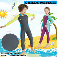 Childrens Full Length Surf Diving Wetsuit Boys Girls Kids Swim Wet Suit Anti UV