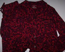 NWT Cabernet Red/Black FLORAL Jersey Knit Pajama Shirt/Pants Set XS STRETCH