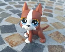Littlest Pet Shop LPS #588 White Brown Great Dane Dog Diamond Eyes EUC