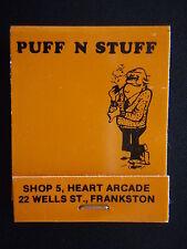 PUFF N STUFF SHOP 5 HEART ARCADE 22 WELLS FRANKSTON 7833461 ORANGE MATCHBOOK