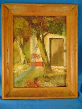 Vintage oil painting landscape trees building fall hang framed primitive art
