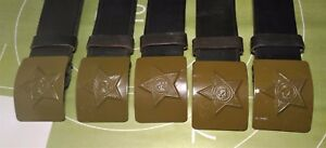 Authentic Soviet Russian Military Soldier Army belt canvas with steel buckle
