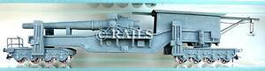HO GAUGE MILITARY 8 AXLE GREEN RAILWAY GUN WAGON