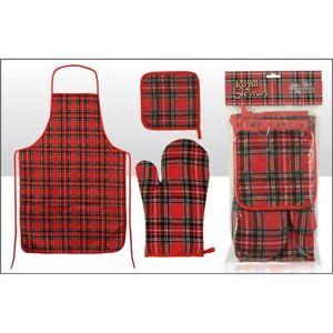 Scottish Tartan Apron, Oven Glove and Pot Holder set