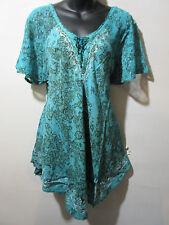 Top Fit XL 1X 2X 3X Plus Tunic Teal White Batik Lace Sleeve A Shape NWT G482