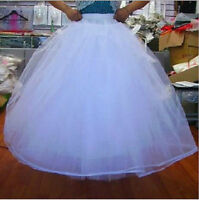 White 3-Layer/8-Layer No Hoop Tulle Petticoat Wedding Gown Crinoline Skirt Slip