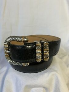 Vintage Brighton silver buckle black lather belt with lizard pattern size L