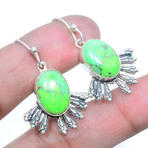 """Copper Mohave Green Turquoise 925 Sterling Silver Handmade Earring 1.38"""" M1514"""