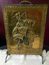 """Not Used Real Copper Display Stand With A Schooner Image Is 20"""" X 10"""" And Nice !"""
