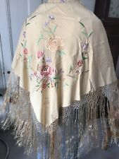 Vintage Gold Silk Piano Shawl Embroidered With Flowers. Art Deco