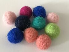 10 Felted Wool Felt Balls Multi Color Mix Ball Felts Fiber Crafts