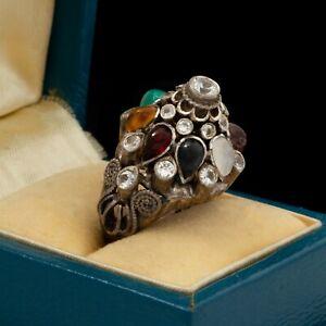 Antique Vintage Nouveau 14k White Gold Siam Princess Harem Quartz Ring Sz 5.5