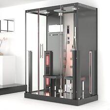 3 in 1 Infrarot Dampfdusche Sauna Dusche schwarz alu 145 x 90 x 215 cm ab Lager