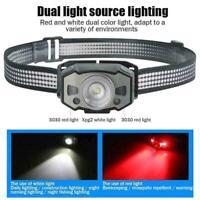 LED Zoom Headlamp IR Sensor Mirco USB Red Light Head Lamp I7K7 Torch L4J7