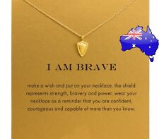 Dogeared I AM BRAVE Shield Gold Inspirational Message Pendant Necklace Gift Card