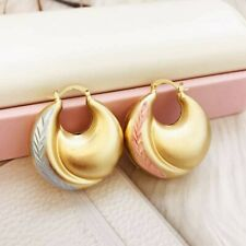 18k Layered Real Gold Filled Round Hoop Bamboo Earring Multi colors