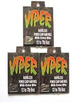 Viper Barbless Hair Rig Hooks To Nylon Sizes 12 14 16 Carp Match Maggots Floats