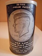 JFK SILVER HALF DOLLAR JIGSAW PUZZLE IN A CAN LET'S PROMOTE AMERICA 1968 VINTAGE
