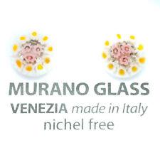 White Yellow Millefiori Handmade Authentic Murano Venetian Glass Thin Earrings