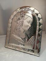 Quadro in Argento 925 Madonna sagomata ovale cm 30 x 24