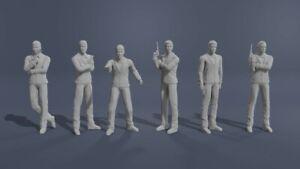 James Bond Set 1:18 AutoArt Connery Lazenby Moore Dalton Brosnan Craig 3D Print