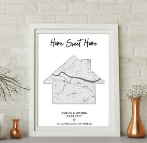 Personalised House Map Word Art Print New Home First Met Couples Wedding Gift