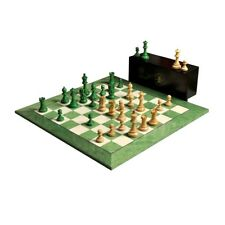 "The Grandmaster Chess Set, Box, & Board Combination - 4"" King - Green Gilded"