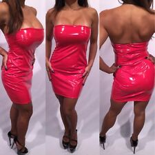 Connie's Stretch Shiny Red Club Tube Dress with Zip Back Closure   L