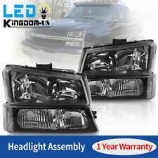 For 03-06 Chevy Silverado Avalanche Black Housing Clear Headlight Bumper Lamps