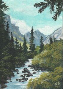 "aceo original acrylic ""Rocky Mountain River""  by J. Hutson"