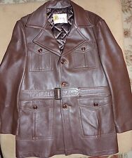 WB Place & Co Genuine Leather Brown Men's Jacket Coat Size 44 Vintage USA Belt