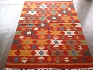 Fair Trade Bikaner Geometric Wool Indian Handmade Kilim Red Rug 120cm x 180cm