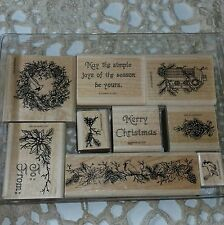 Stampin Up 1997 Christmas Bird Set Of 9 Stamps Bird House Poinsetta Holiday Bows