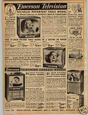 """1954 PAPER AD Emerson Television TV Table Console 21"""" George Lawn Mower Tiller"""