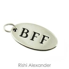 925 Sterling Silver Oval BFF Best Friends Forever Tag Charm Made in USA