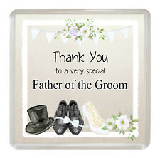 FATHER OF THE GROOM Coaster Novelty Drinks Mat Fun Wedding Favour Thank You Gift