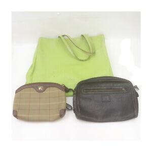 Burberry Burberrys Leather Canvas Shoulder Bag Clutch Pouch 3 pieces set 526412