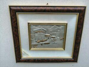 Quadro Argento 925 paesaggio firmato Capitanelli 41 x 41 cm