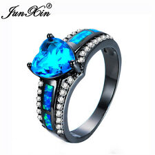 Aquamarine Blue Fire Opal Heart Ring Black Gold Jewelry Wedding Band Size 5-11