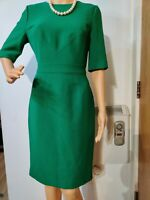 NEW HOBBS FITTED DRESS SIZE UK 10 US 6 GREEN  63% VISCOSE 37% WOOL