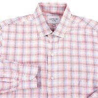 Ledbury Mens Blue Pink Gingham Check Button Front Dress Shirt 15.5 39cm Red