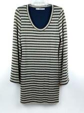 ZARA TRAFALUC Metallic Gold Stripe Sweater Party Dress Trumpet Sleeve NWT L