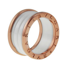 bvlgari bzero1 four band 18 kt rose gold white ceramic ladies ring size 75