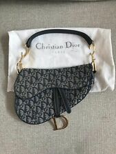 Authentic/Vintag/Christian/Dior Saddle Bag Navy Trotteur With Gold HardwareItem