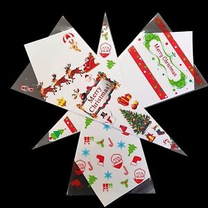 Christmas & Santa Festive Coloured Cello Cone Party Bags Candy Sweet Treat Gift