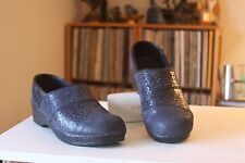 Sanita 39 Blue Leather Multi Design Stapled Pro Clogs Women's US 8-8.5