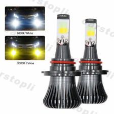 2x Dual Color 9005 9006 LED Bulbs Car Fog Lights Driving White Yellow 180W DRL