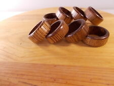 Home Made Wooden Napkin Rings Set of 8 Brown Solid Wood Dining Kitchen Dishes