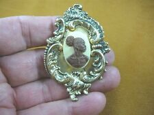 (CA10-28) RARE African American LADY brown + ivory CAMEO Pin Pendant JEWELRY